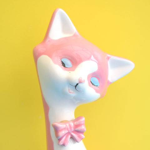 Vintage 1960s Ceramic Cat Figure - Pink Heart Nose