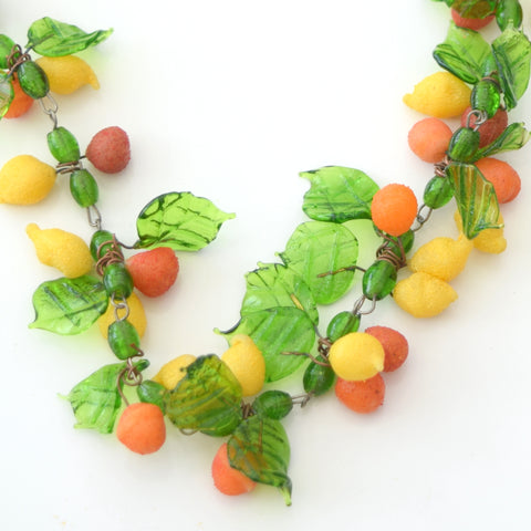 Vintage Venetian Glass Fruit Necklace - Oranges, Lemons & Leaves