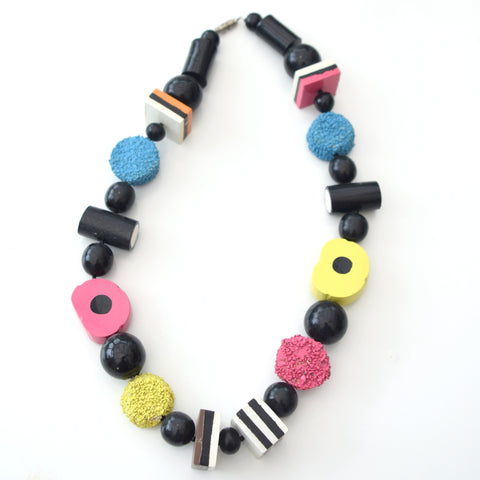 Vintage Wooden Liquorice Allsorts Necklace / Jewellery - Pink, Yellow, Blue, Orange