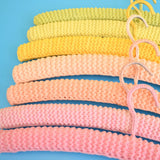Vintage 1960s Crocheted Clothes Hangers - Ice Cream Colours - Pistachio Green, Peach, Strawberry Pink, Banana Yellow