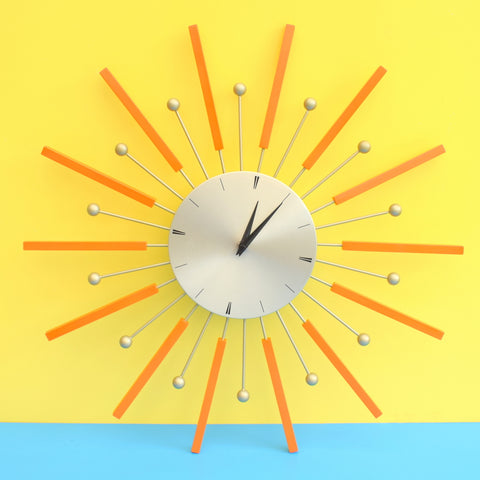 Retro Light Gold / Orange Starburst / Sunburst Clock - Lovely Design