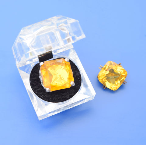 Vintage Yellow Glass / Plastic Ring & Brooch In Perspex Ring Box