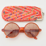 Vintage 1960s Round Orange Sun glasses / Sunglasses - Beaded Case - Red