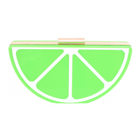Retro Clutch Bag - Acrylic Lime Fruit Slice, Green
