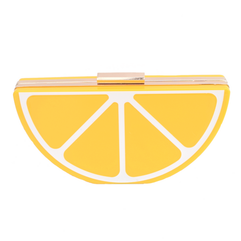 Retro Clutch Bag - Acrylic Lemon Fruit Slice
