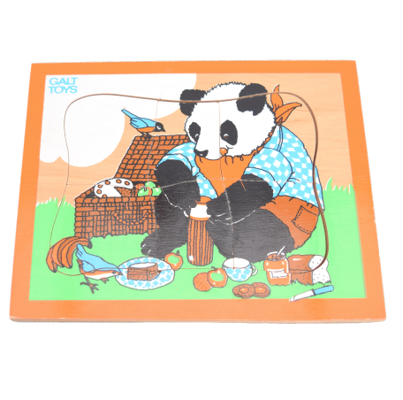 Vintage 1980s Wooden Jigsaw Puzzle - by Galt - Panda Bear