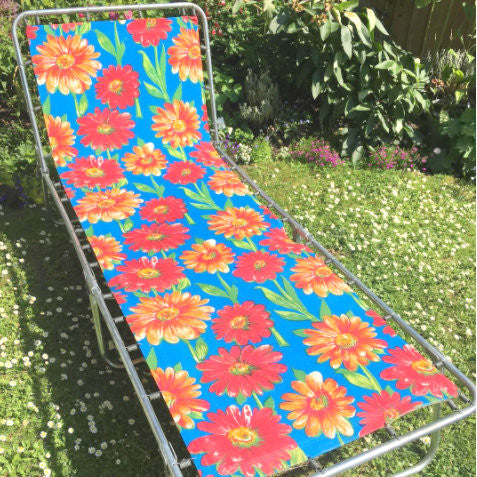 Vintage 1970s Garden Sun Lounger - Blue, Red & Orange Flower Power