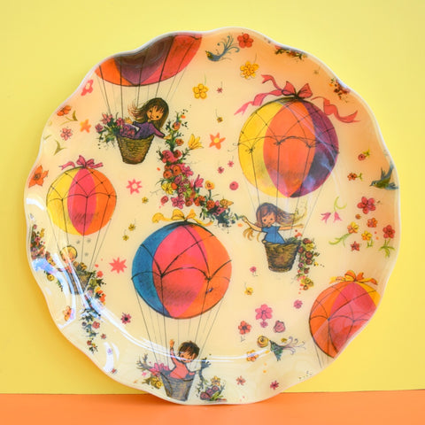 Vintage 1960s Round Plastic Tray - Canadian - Flower & Girl Design