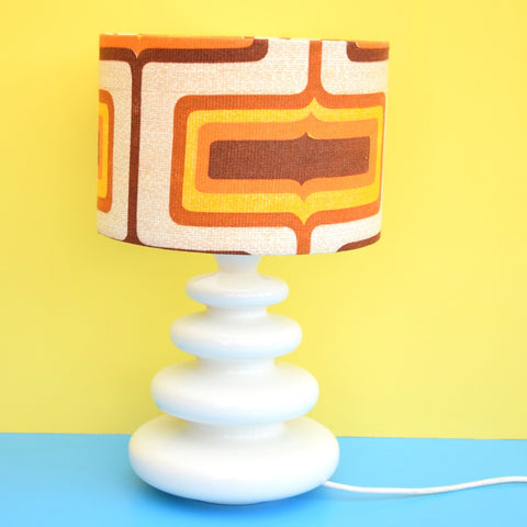 Vintage 1960s Ceramic Lamp & Geometric Shade - Brown & Orange