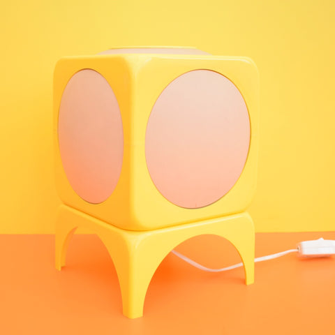 Vintage 1970s Rare Plastic Cube Lamp - Swedish - Lemon Yellow
