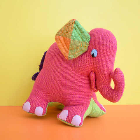 Vintage Fabric Baby Elephant - Pink & Green
