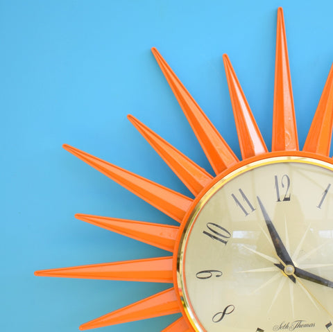 Vintage 1960s Orange Starburst / Sunburst Clock - Lovely Design