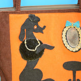Vintage 1950s Poodle Felt & Cord Hand Bag - Brown & Orange