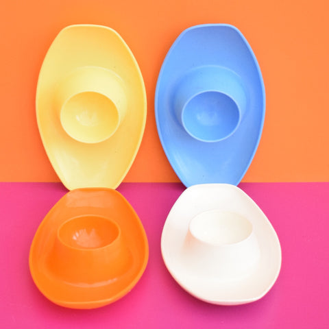 Vintage 1960s Plastic Stacking Oval Egg Cups x4