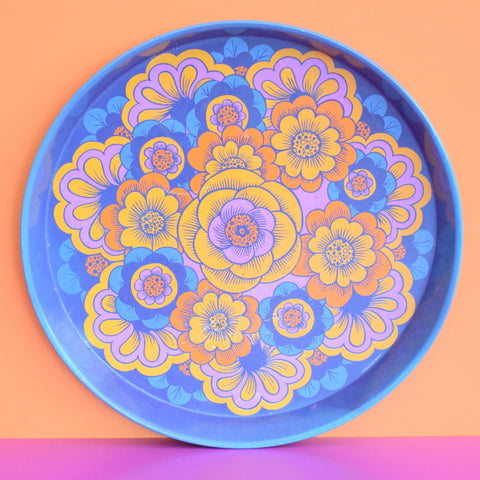 Vintage 1960s Round Tray - Flower Power Design, Purple & Orange
