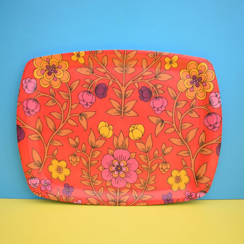 Vintage 1960s Flower Power Thetford Tray - Red