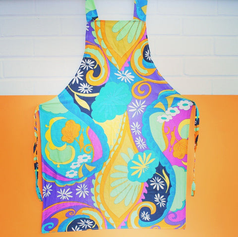 Vintage 1960s Psychedelic Full Apron - Purple, Pink
