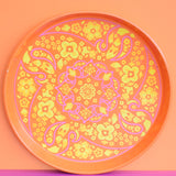 Vintage 1960s Round Tray - Ian Logan Design, Orange & Pink