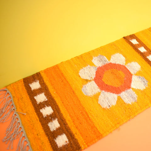 Vintage 1960s Swedish Wall Hanging / Small Rug - Lovely Design - Orange