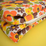 Vintage 1960s Padded Long Folding Cushion - Yellow & Orange Flower Power