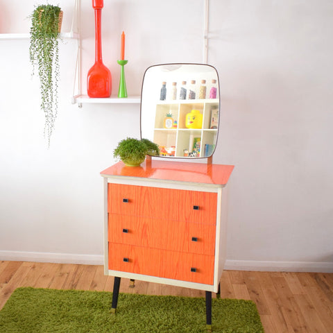 Vintage 1960s Small Formica Dressing Table/ Chest of Drawers - Tangerine Orange