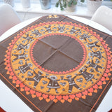 Vintage 1970s Swedish , Square Tablecloth - Gingerbread Design - Orange & Brown