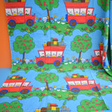 Vintage 1960s Fabric - Apple Trees & Red Buses.