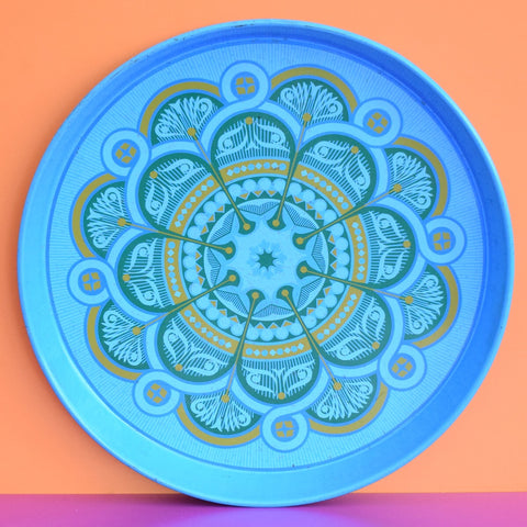 Vintage 1960s Round Tray - Geometric Design, Turquoise Blue