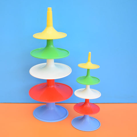 Vintage 1960s Plastic Stacking Cone Toy / Sculpture - Bright Colours