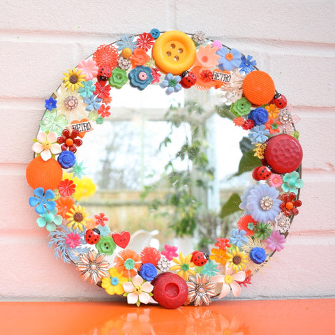Vintage Mirror - Enamel & Plastic Flowers / Buttons - Unique