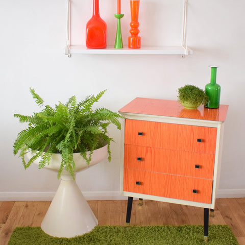 Vintage 1960s Small Formica Chest of Drawers - Tangerine Orange