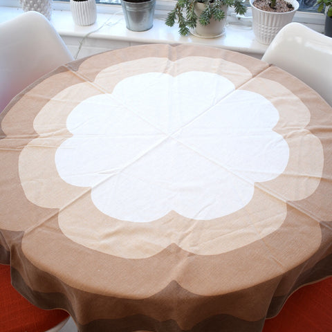Vintage 1970s Swedish , Round Tablecloth - Flower Design - Cream & Brown