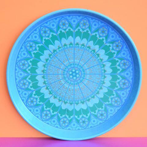 Vintage 1960s Round Tray - Geometric Design, Teal Blue