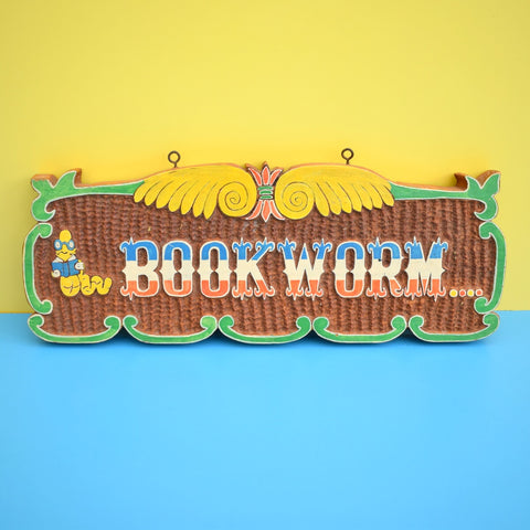 Vintage 1980s Hand Carved Wooden Sign - Book Worm
