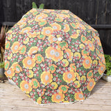 Vintage 1960s Large Folding Garden Parasol & Sun Lounger - Flower Power - Light Orange & Green With Fringe