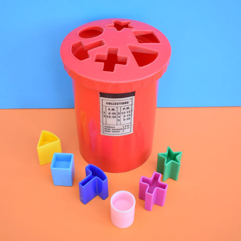 Vintage 1960s Plastic Postbox Sorting Toy - Kiddicraft - Bright Colours