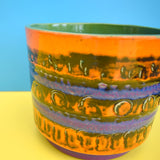 Vintage 1960s West German Ceramic Plant Pot - Orange & Purple