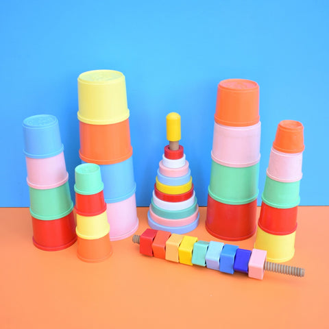 Vintage 1960s Plastic Stacking Cups / Cogs / Rings - Kiddicraft - Bright Colours