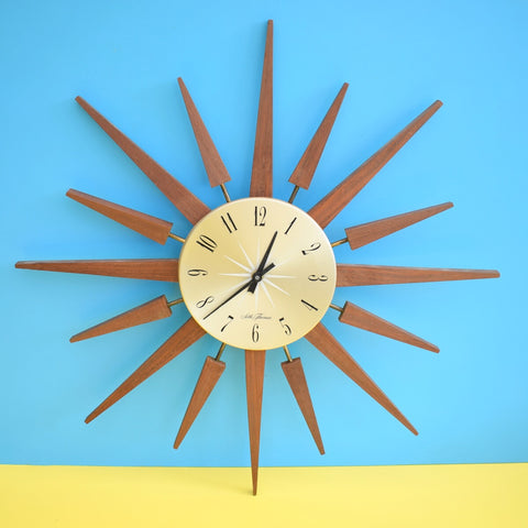 Vintage 1960s Teak Starburst / Sunburst Clock - Lovely Design