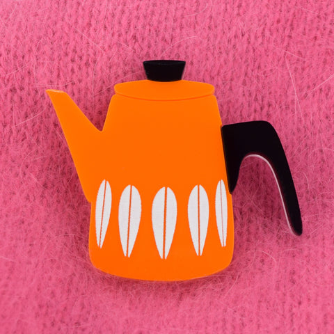 Retro Acrylic Brooch - Cathrineholm Style Coffee Pot Design, Orange