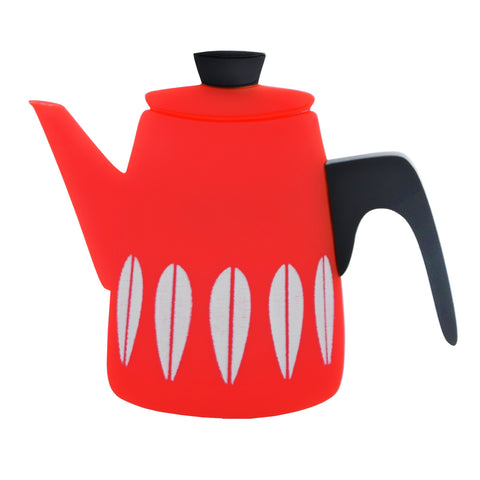 Retro Acrylic Brooch - Cathrineholm Style Coffee Pot Design, Red