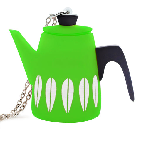 Retro Acrylic Necklace - Cathrineholm Style Coffee Pot Design, Green