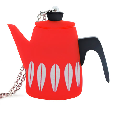 Retro Acrylic Necklace - Cathrineholm Style Coffee Pot Design, Red