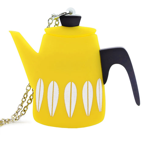Retro Acrylic Necklace - Cathrineholm Style Coffee Pot Design, Yellow