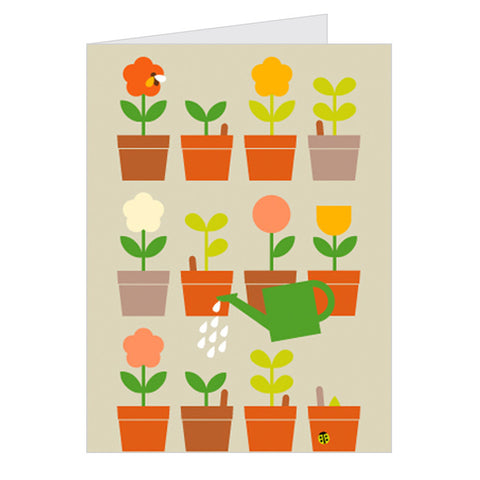 Retro Greeting Card Dicky-Bird, Garden Flower Pots