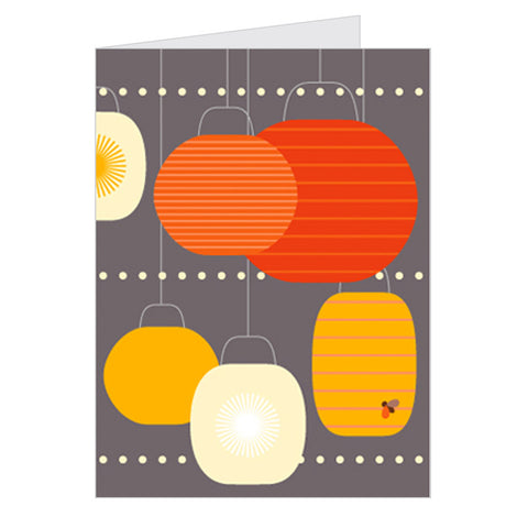 Retro Greeting Card Dicky-Bird, Orange Lanterns