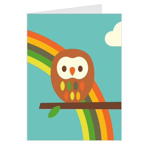 Retro Greeting Card Dicky-Bird, Owl & Rainbow