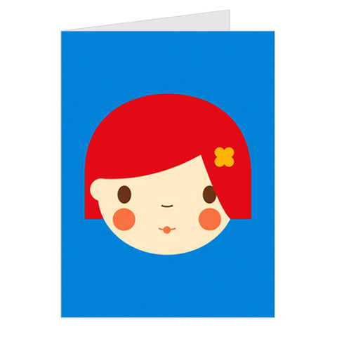 Retro Greeting Card Dicky-Bird, Red Girl on Blue