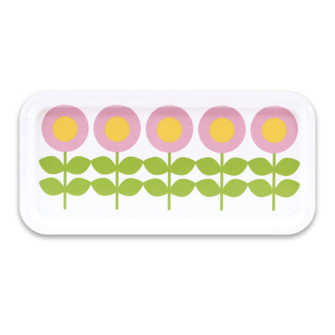 Retro Wooden Tray - Swedish by Floryd - Flower Design, White & Pink