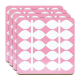 Retro Coasters Set of 4 - Swedish by Floryd - Retro Leaf Design, Pink